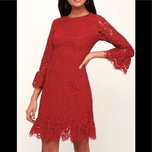 Lulu's Flair-est of Them All Red Lace Dress